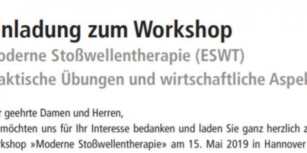 Einladung zum Workshop Moderne Stoßwellentherapie (ESWT) am 15. Mai 2019